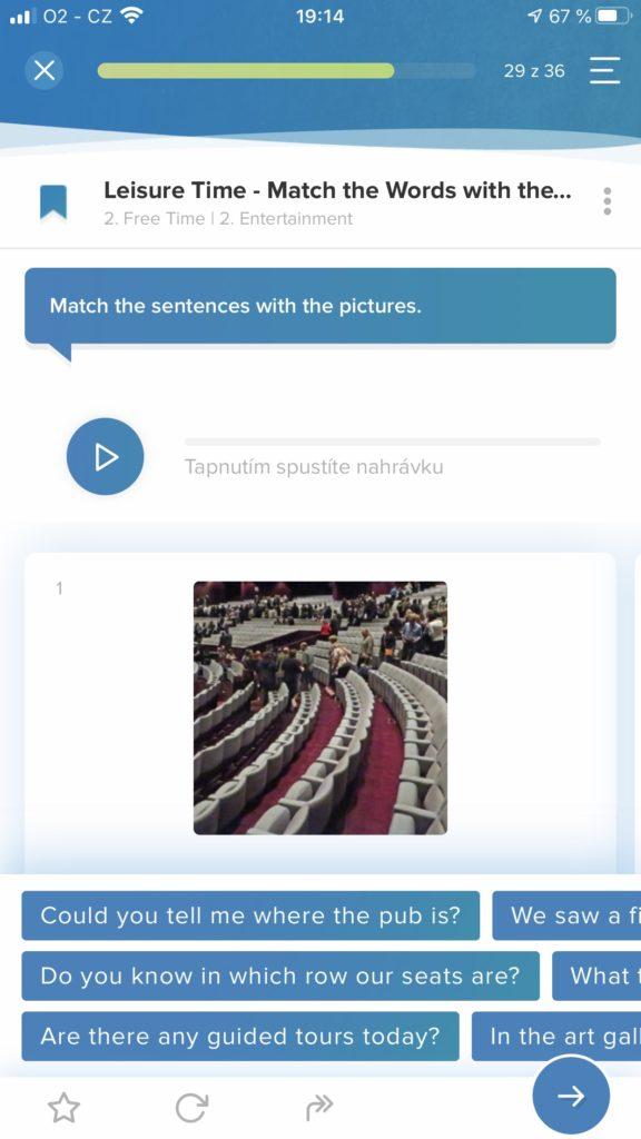 Angličtina pro samouky aplikace Online Jazyky ukázka 3